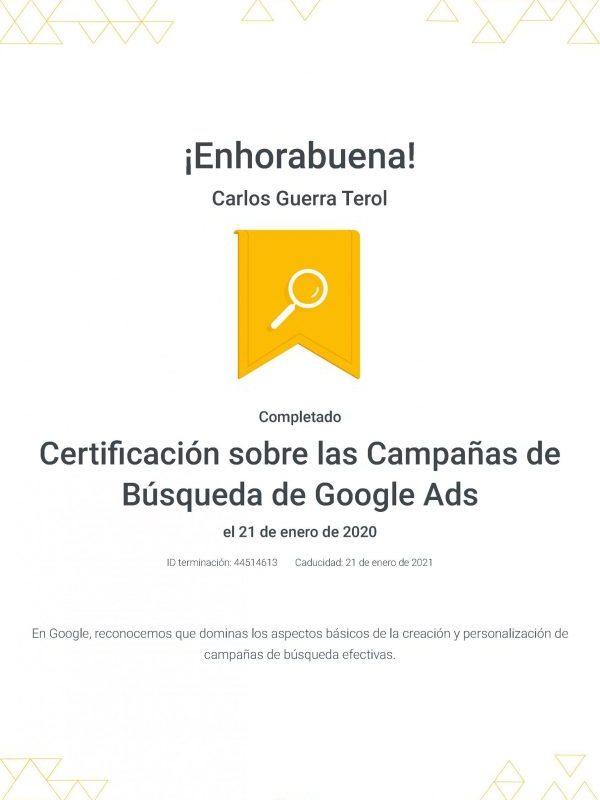 Certificado Búsqueda GoogleAds